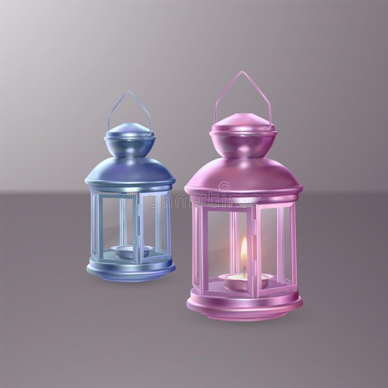 Grupo colorido de lanternas no fundo claro ilustração metálica realística do vetor das lanternas 3D ilustração stock