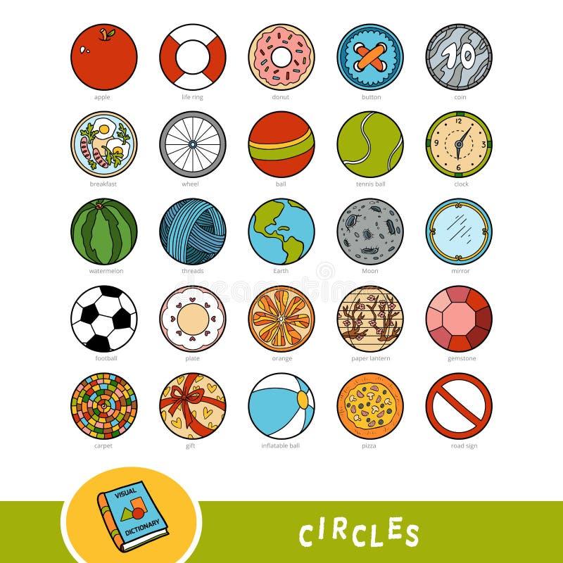 Grupo colorido de objetos da forma do círculo Dicionário visual ilustração stock