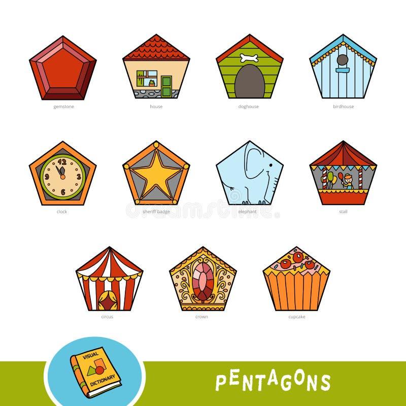 Grupo colorido de objetos da forma do pentagon Dicionário visual ilustração stock
