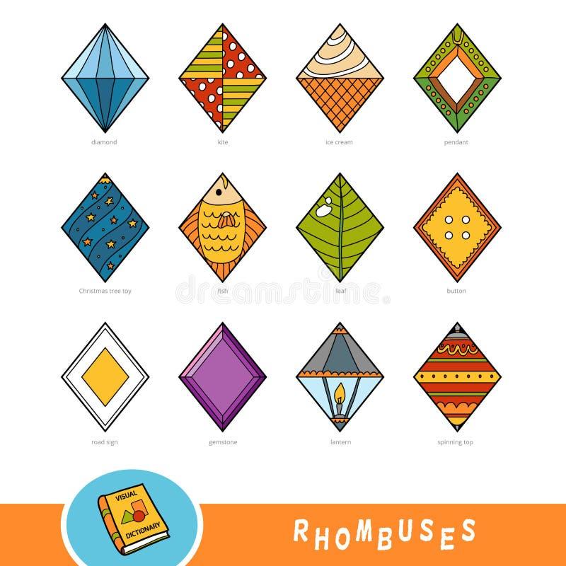 Grupo colorido de objetos da forma do rombo Dicionário visual ilustração royalty free