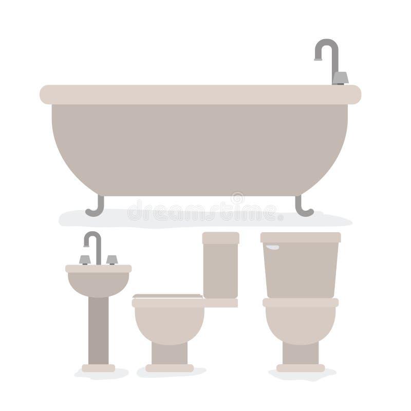 Grupo colorido de objetos do interior do banheiro ilustração stock