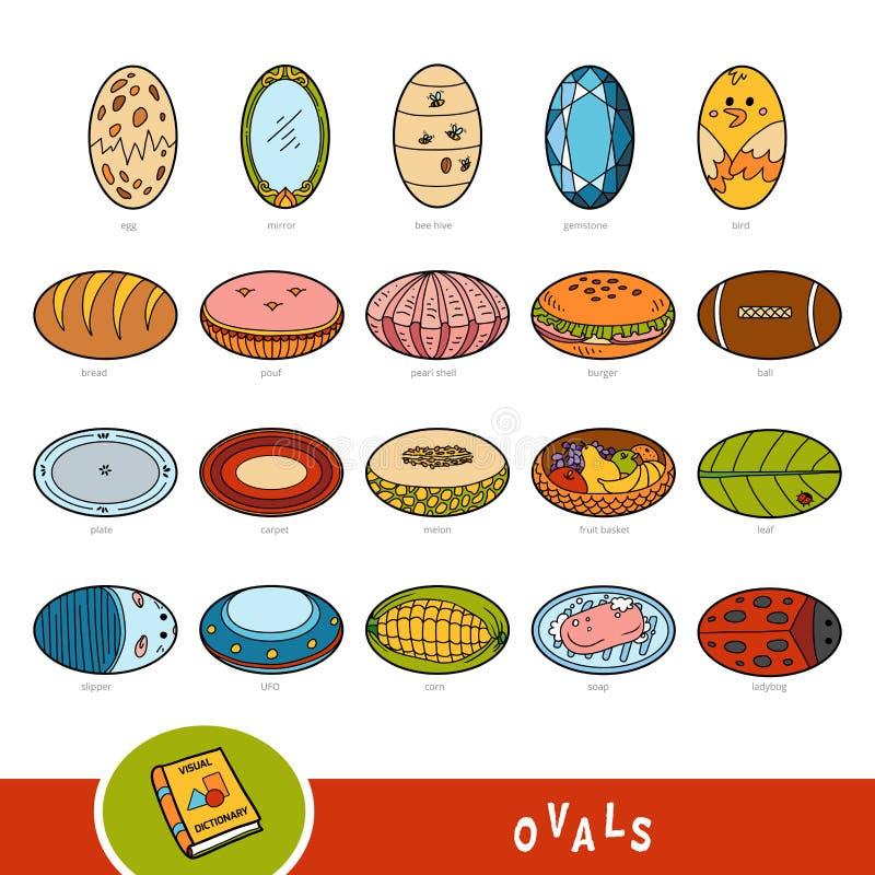 Grupo colorido de objetos ovais da forma Dicionário visual ilustração stock
