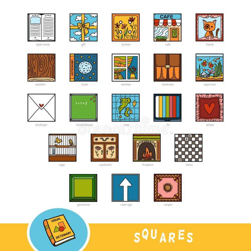 Grupo colorido de objetos quadrados da forma Dicionário visual ilustração stock