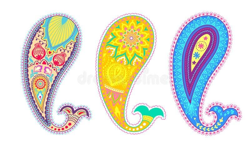 Grupo colorido de paisley Projeto decorativo do ornamento ilustração do vetor