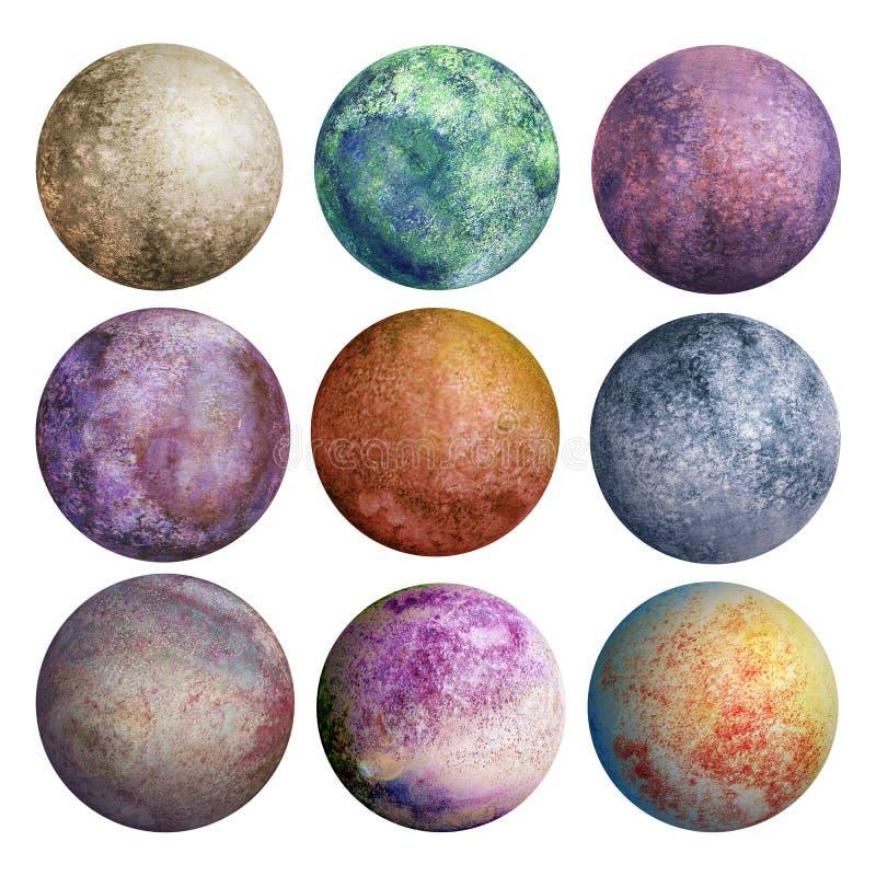 Grupo colorido de planetas da aquarela isolados ilustração do vetor