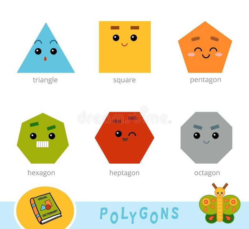 Grupo colorido de polígono Dicionário visual para crianças ilustração royalty free