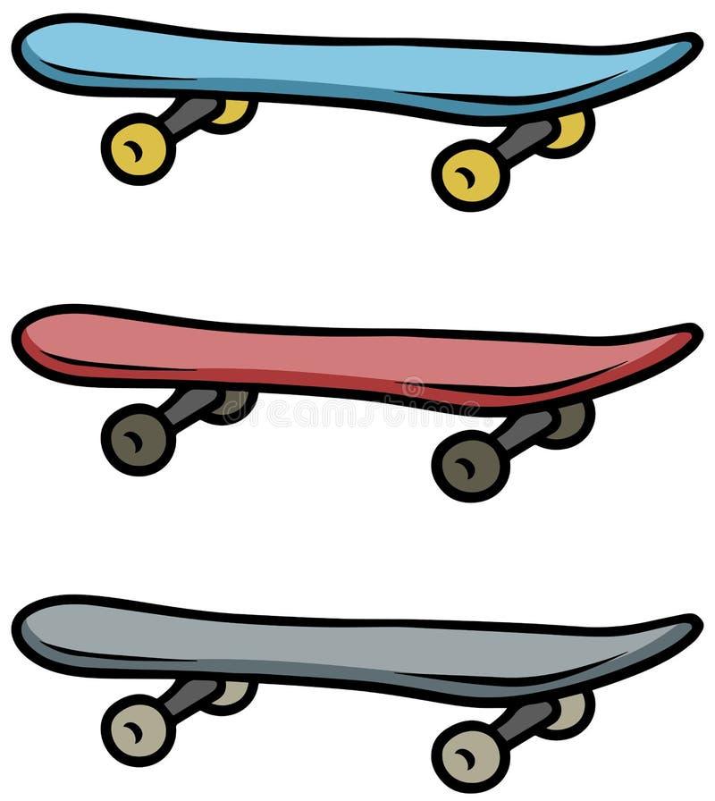 Grupo colorido desenhos animados do ícone do vetor do skate ilustração royalty free