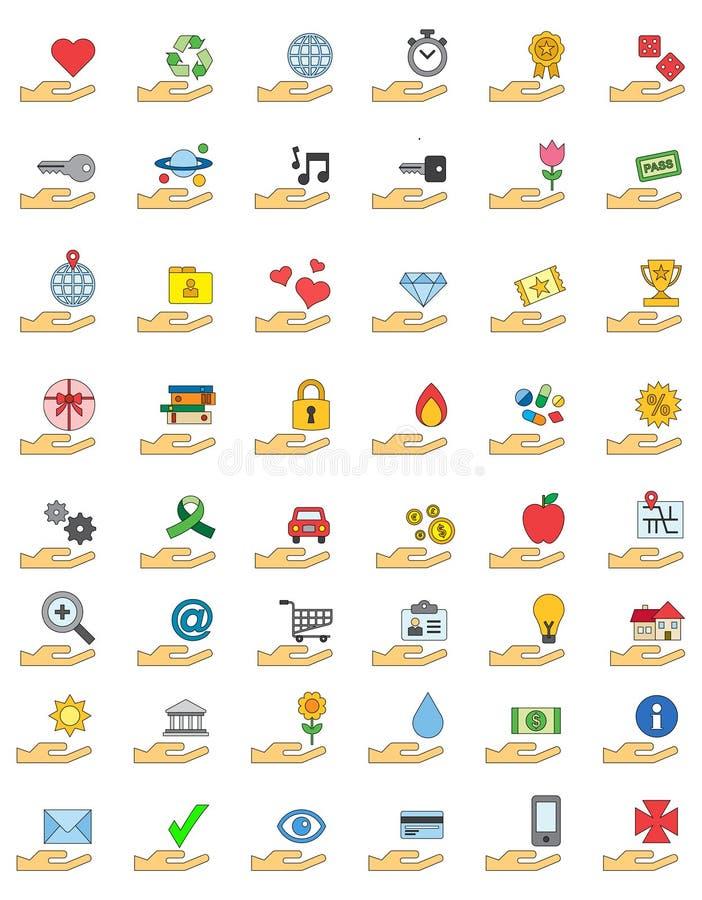 Grupo colorido do ícone de objetos sobre as mãos ilustração stock