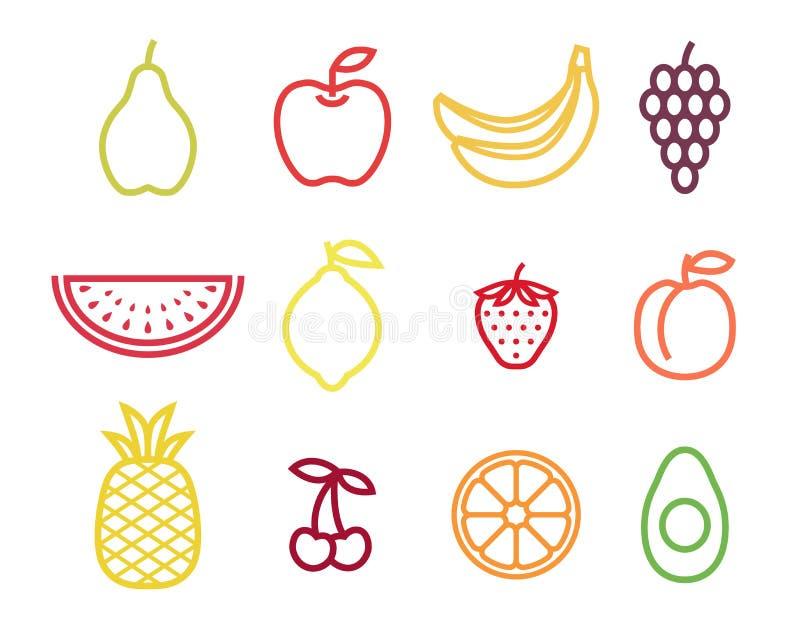Grupo colorido do ícone do fruto do esboço Frutificam os ícones no curso da cor ilustração do vetor