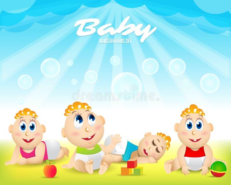 Grupo colorido do bebê playground Molde para o folheto de anúncio Apronte para sua mensagem O bebê olha acima com interesse ilustração do vetor