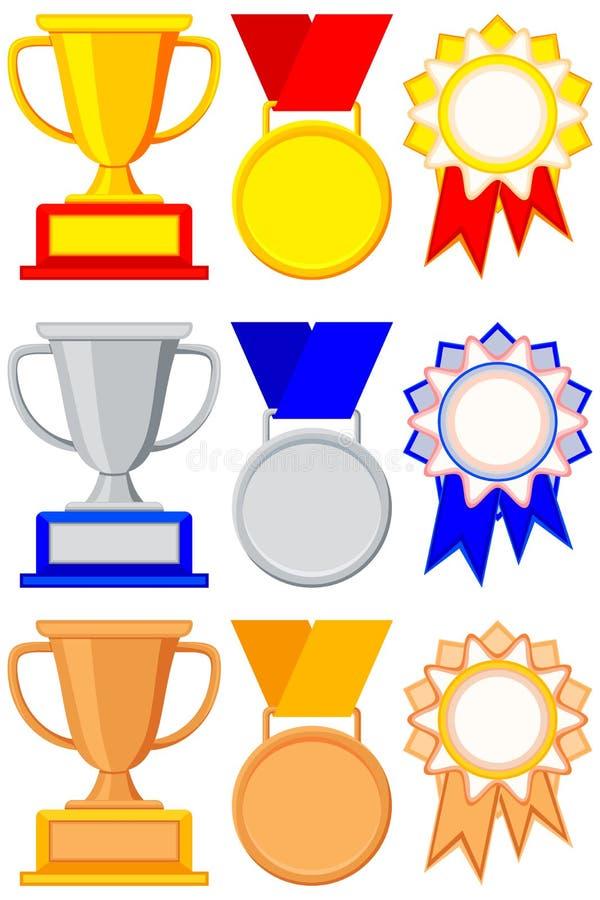 Grupo colorido do bronze da prata do ouro da concessão do vencedor ilustração stock