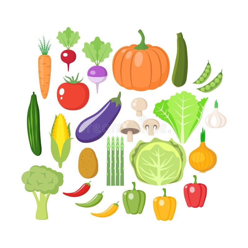 Grupo colorido do clipart dos vegetais Coleção colorida vegetal dos desenhos animados ilustração royalty free