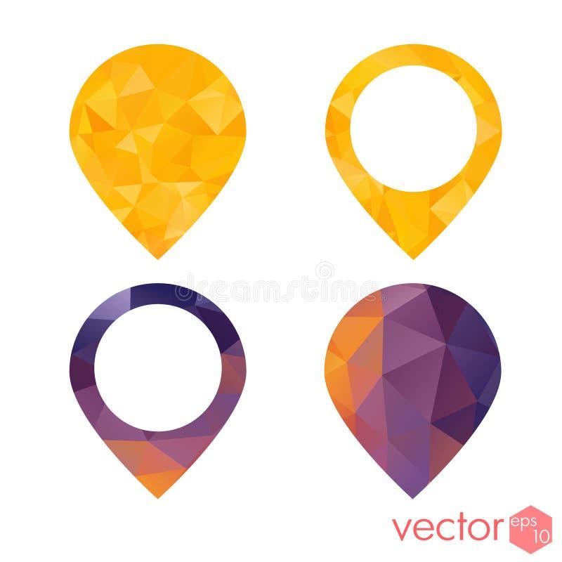 Grupo colorido do estilo do polígono da navegação do ponto do lugar dos ícones ilustração royalty free