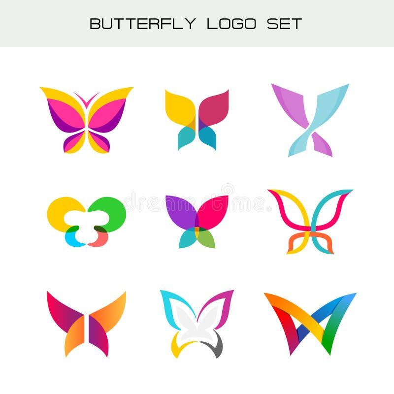 Grupo colorido do logotipo da borboleta ilustração royalty free