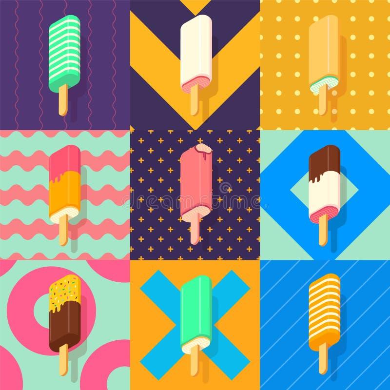 Grupo colorido do lolly de gelo ilustração stock