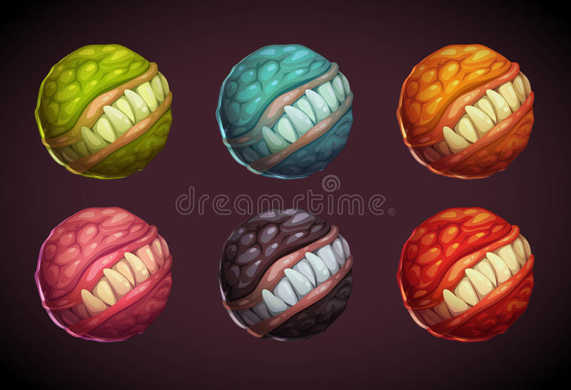 Grupo colorido do planeta do monstro dos desenhos animados ilustração stock