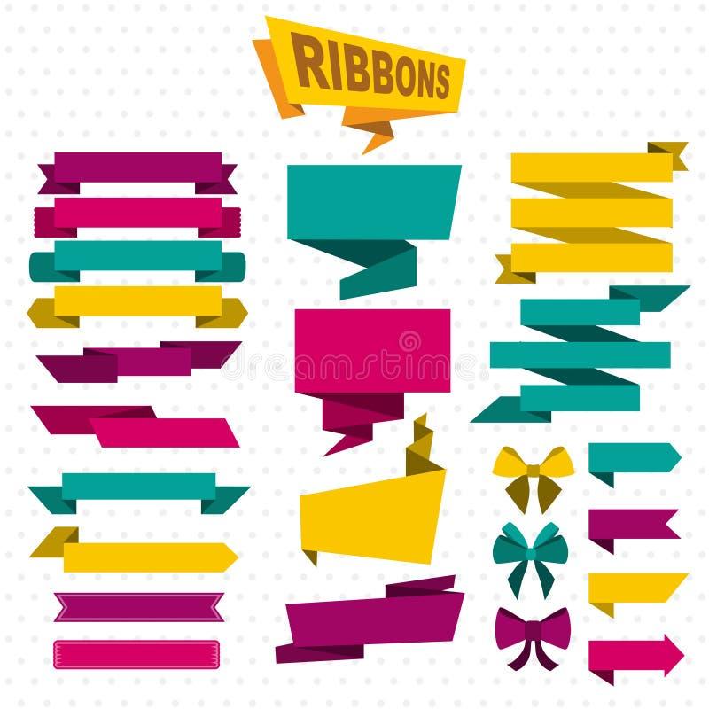 Grupo colorido do plano dos elementos do projeto ilustração do vetor
