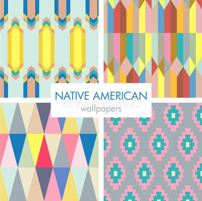 Grupo colorido do teste padrão do nativo americano ilustração royalty free
