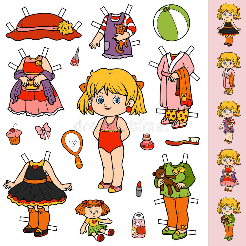 Grupo colorido do vetor, boneca de papel e roupa ilustração royalty free