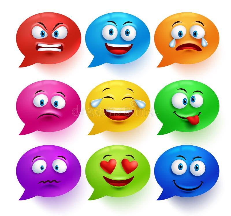 Grupo colorido do vetor da bolha do discurso com expressões faciais engraçadas ilustração do vetor