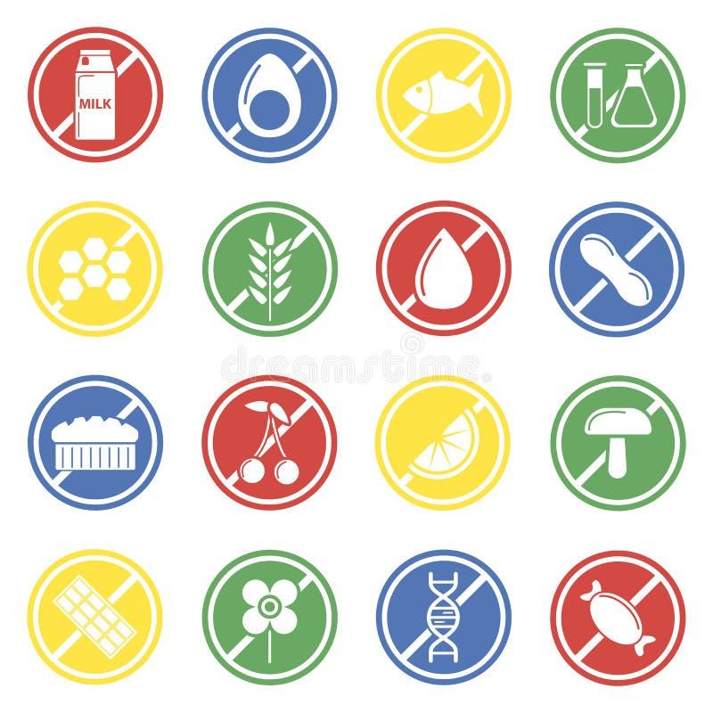 Grupo colorido do vetor das etiquetas do alérgeno isolado no branco ilustração royalty free