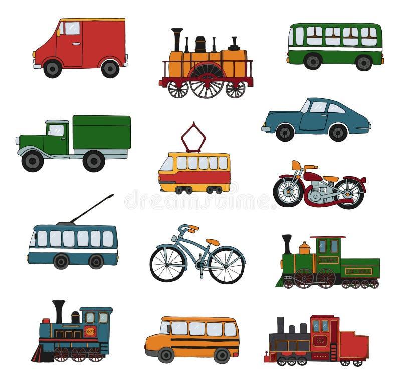 Grupo colorido do vetor de motores retros e de transporte ilustração do vetor