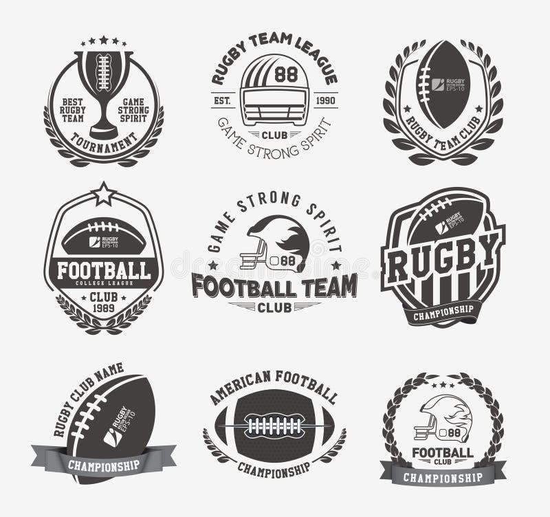 Grupo colorido do vetor do logotipo do rugby, molde do logotipo do crachá do futebol ilustração royalty free