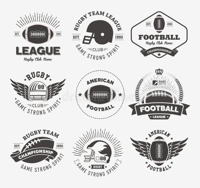 Grupo colorido do vetor do logotipo do rugby, molde do logotipo do crachá do futebol ilustração do vetor