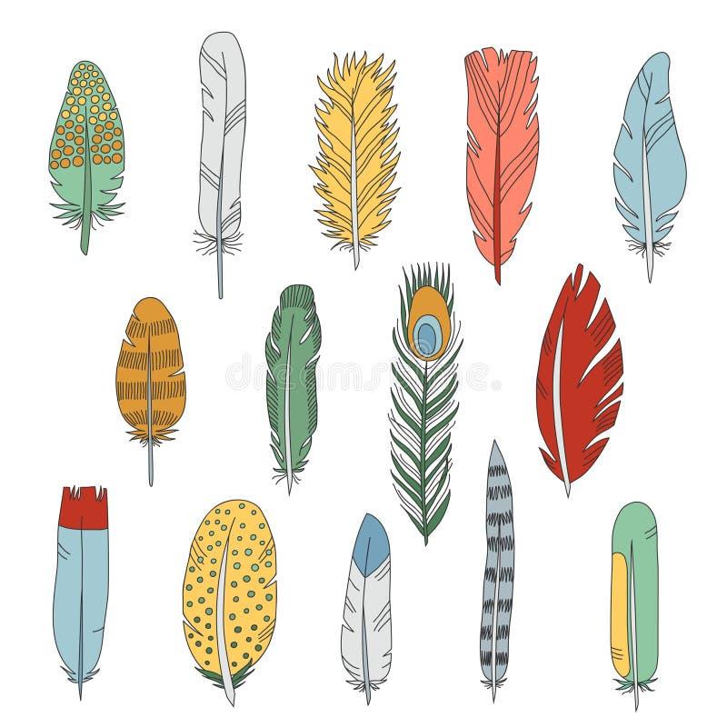 Grupo colorido do vetor dos ícones da garatuja das penas ilustração royalty free
