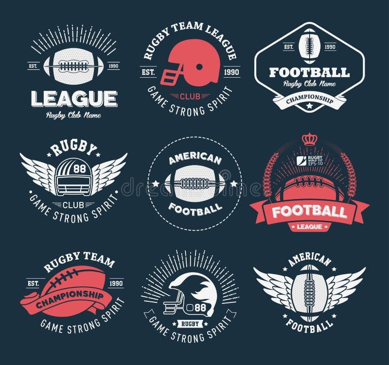 Grupo colorido do vetor do logotipo do rugby, molde do logotipo do crachá do futebol ilustração stock