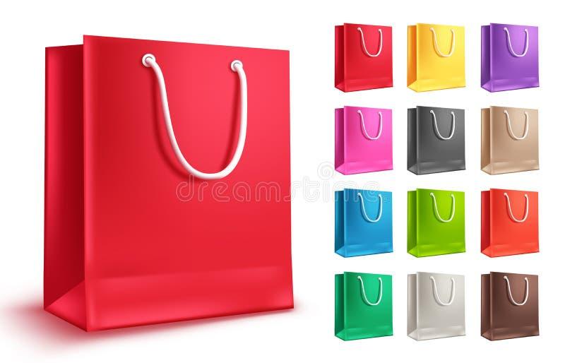 Grupo colorido do vetor do saco de compras Sacos de papel vazios para a compra e a forma ilustração stock