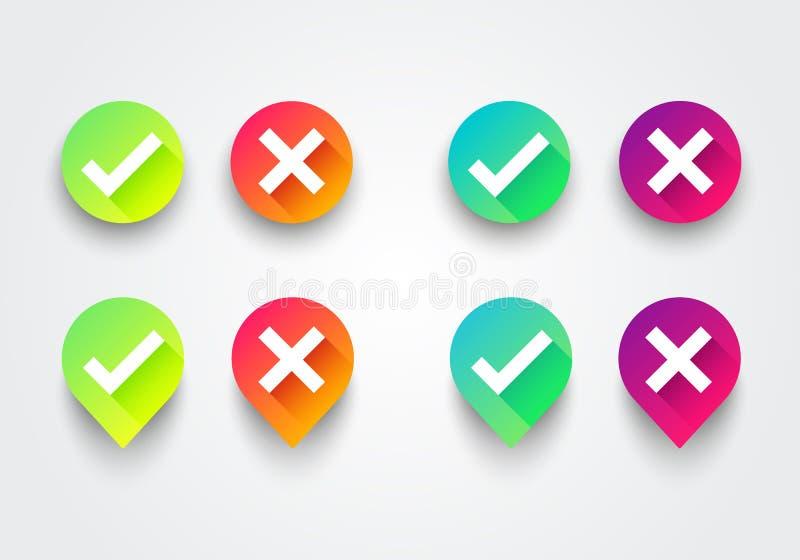 Grupo colorido dos ícones da lista da caixa de verificação do inclinação da ilustração do vetor APROVAÇÃO verde do sinal e X verm ilustração stock