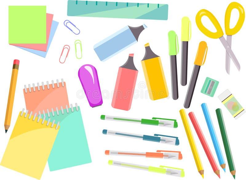 Grupo colorido dos artigos de papelaria, artigos para a escola e escritório ilustração stock