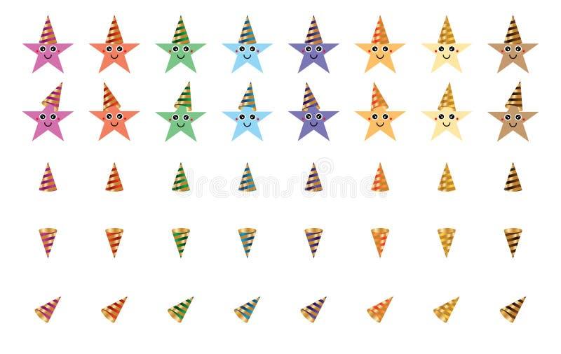 Grupo colorido dos desenhos animados do chapéu do partido da estrela ilustração royalty free