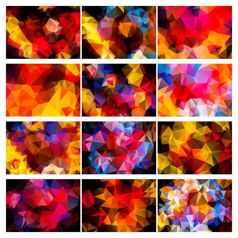 Grupo colorido dos fundos poligonais ilustração do vetor
