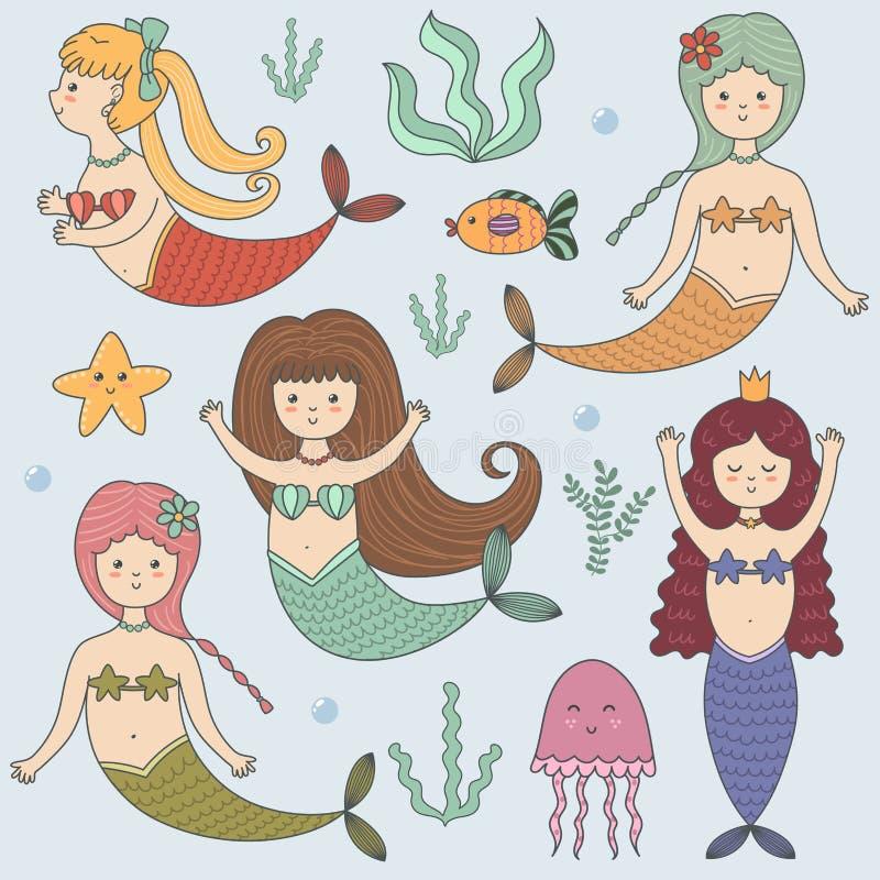 Grupo colorido engraçado com sereias bonitos ilustração stock
