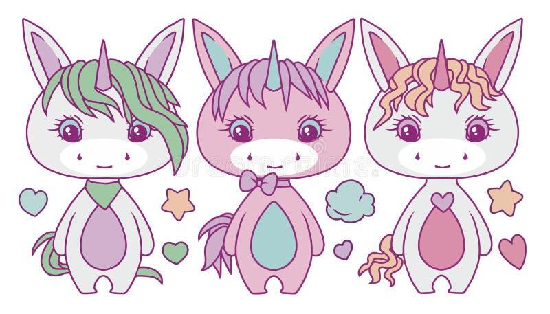 Grupo colorido pastel carnudo bonito da ilustração do vetor do unicórnio dos desenhos animados ilustração royalty free