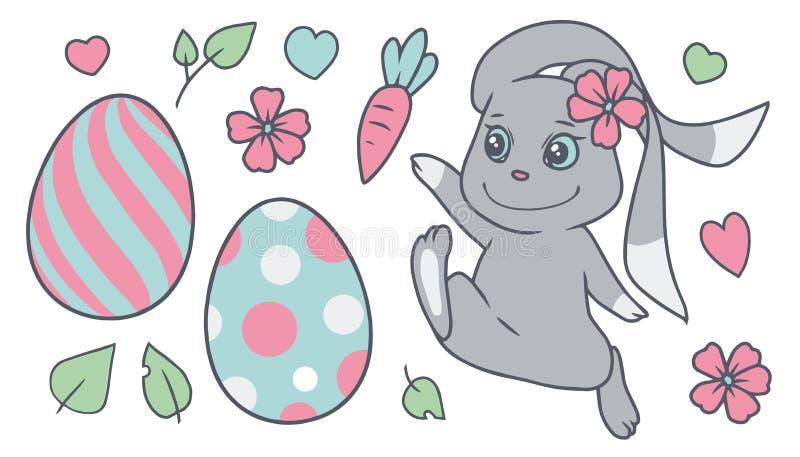 Grupo colorido pastel da coleção do vetor de easter dos desenhos animados com coelho, flores da mola, ovos coloridos, folhas, cor ilustração royalty free