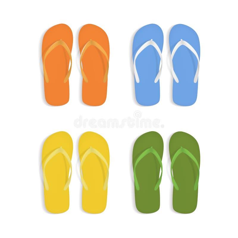 Grupo colorido realístico de 3d Flip Flops Beach Slippers Sandals Vetor ilustração do vetor