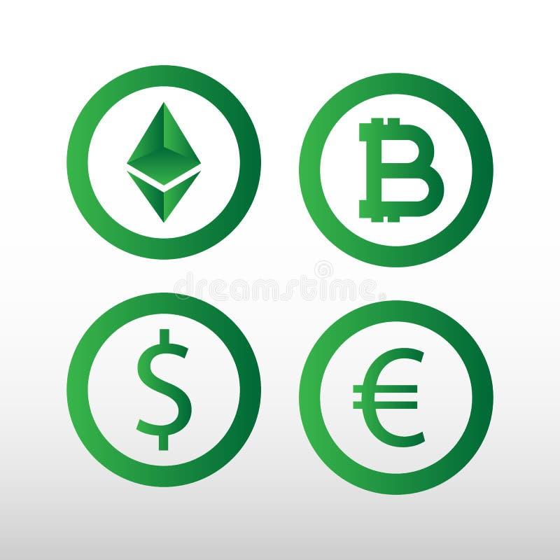 Grupo colorido simples dos ícones dos símbolos de moeda Um grupo de símbolos de moeda usados em países diferentes, ilustração do vetor