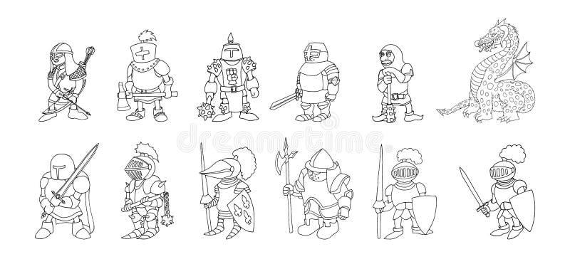 Grupo colorindo da página de cavaleiros medievais dos desenhos animados que prepering para o cavaleiro Tournament ilustração stock