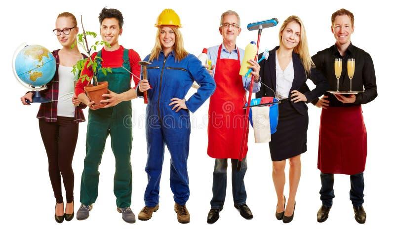 Grupo com ocupações diferentes imagens de stock