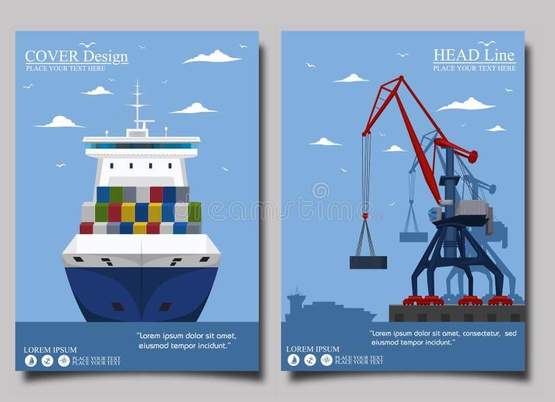Grupo comercial da bandeira do transporte do mar ilustração stock