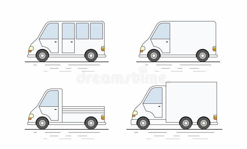Grupo comercial de camionete ícone ilustração royalty free