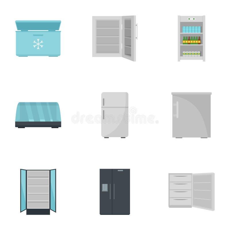 Grupo comercial do ícone do refrigerador, estilo liso ilustração stock