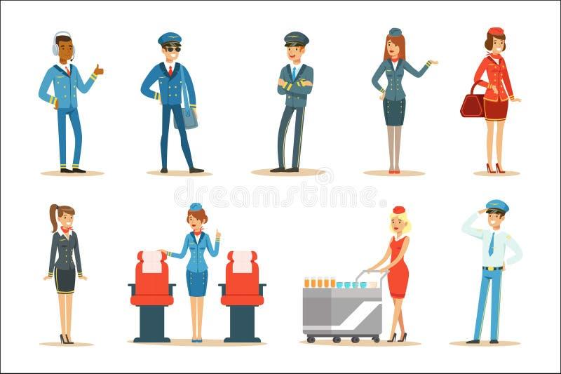 Grupo comercial do grupo da placa do voo de profissionais do transporte aéreo que trabalham no plano, nas comissárias de bordo e  ilustração stock
