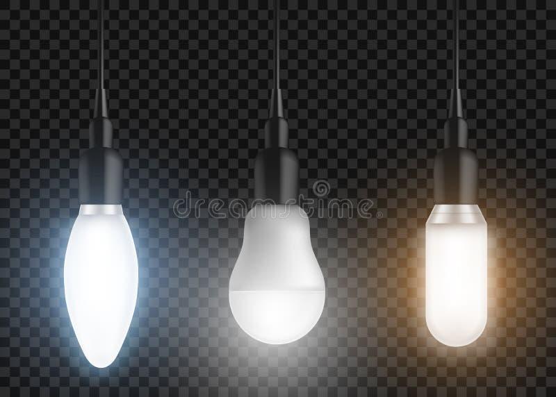 Grupo conduzido dos bulbos Lâmpadas de incandescência, ampolas modernas ilustração do vetor