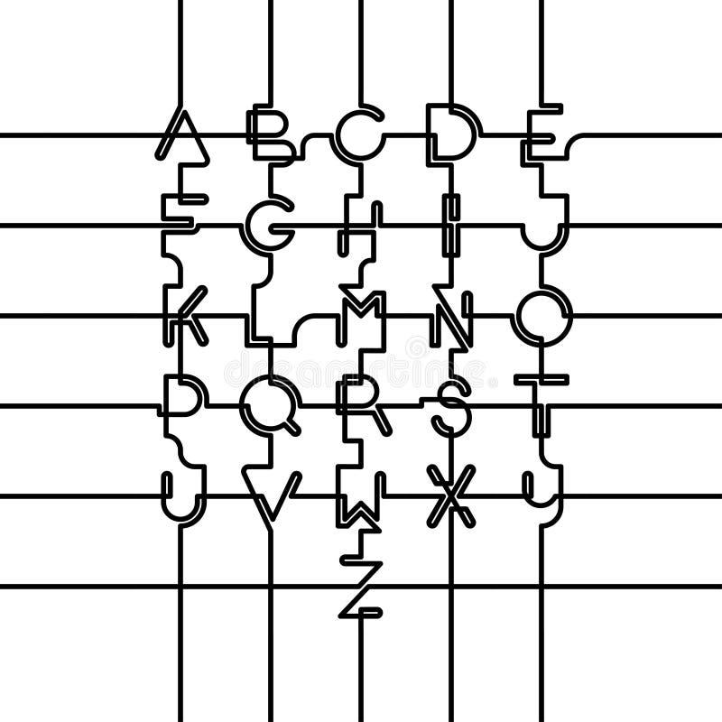 Grupo conectado do alfabeto de latino Tampões e números ilustração royalty free