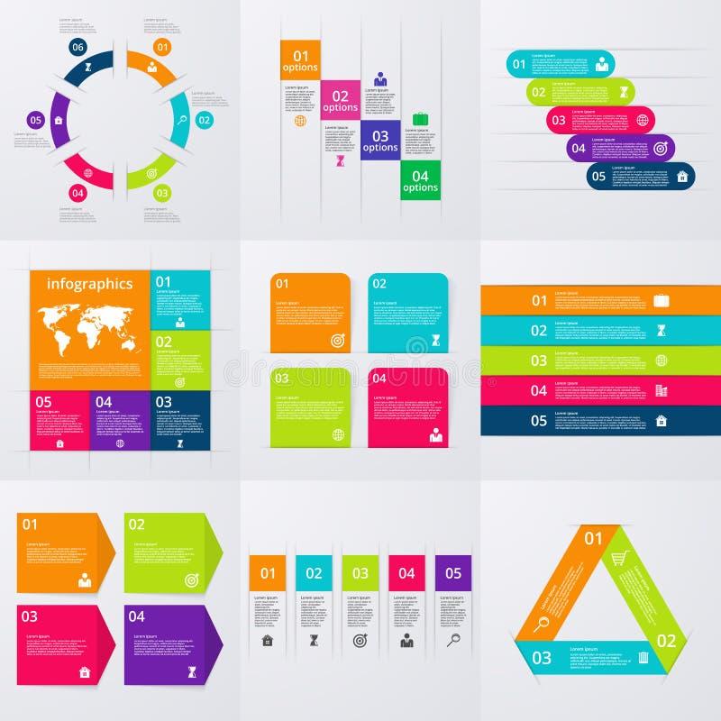 Grupo conservado em estoque do vetor de infographics Um grupo de nove moldes ilustração royalty free