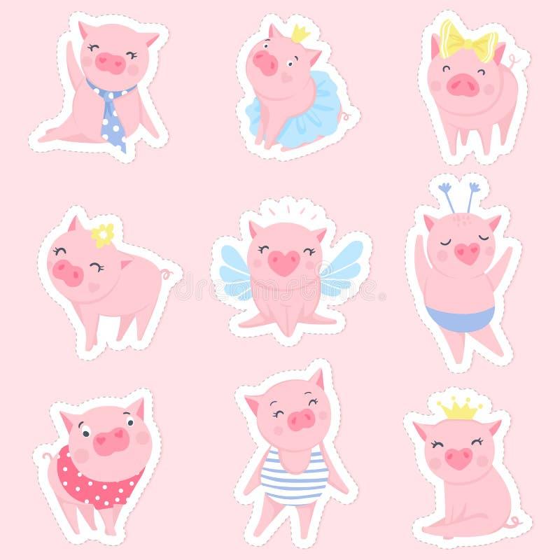 Grupo cor-de-rosa bonito do vetor dos porcos Símbolo de 2019 no calendário chinês ilustração royalty free